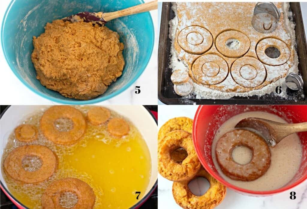 Collage of four images: the final dough in the bowl, cutting out the donuts, frying the donuts, and dipping the donuts in glaze.