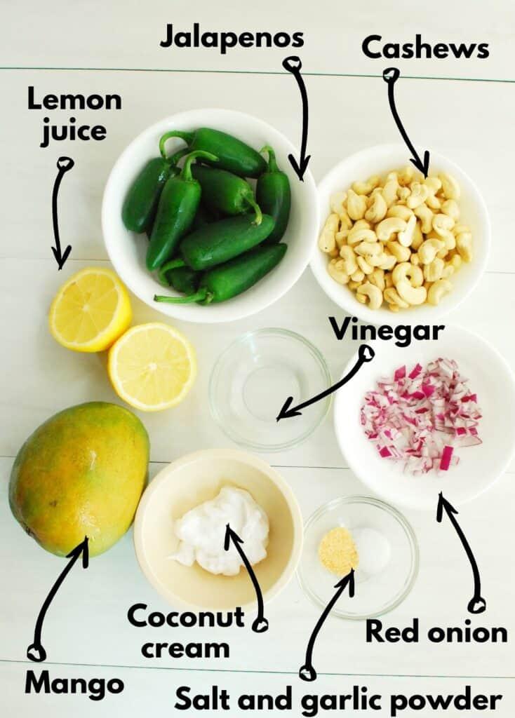 All the ingredients - jalapenos, cashews, red onion, vinegar, lemon, mango, coconut cream, salt, and garlic powder.