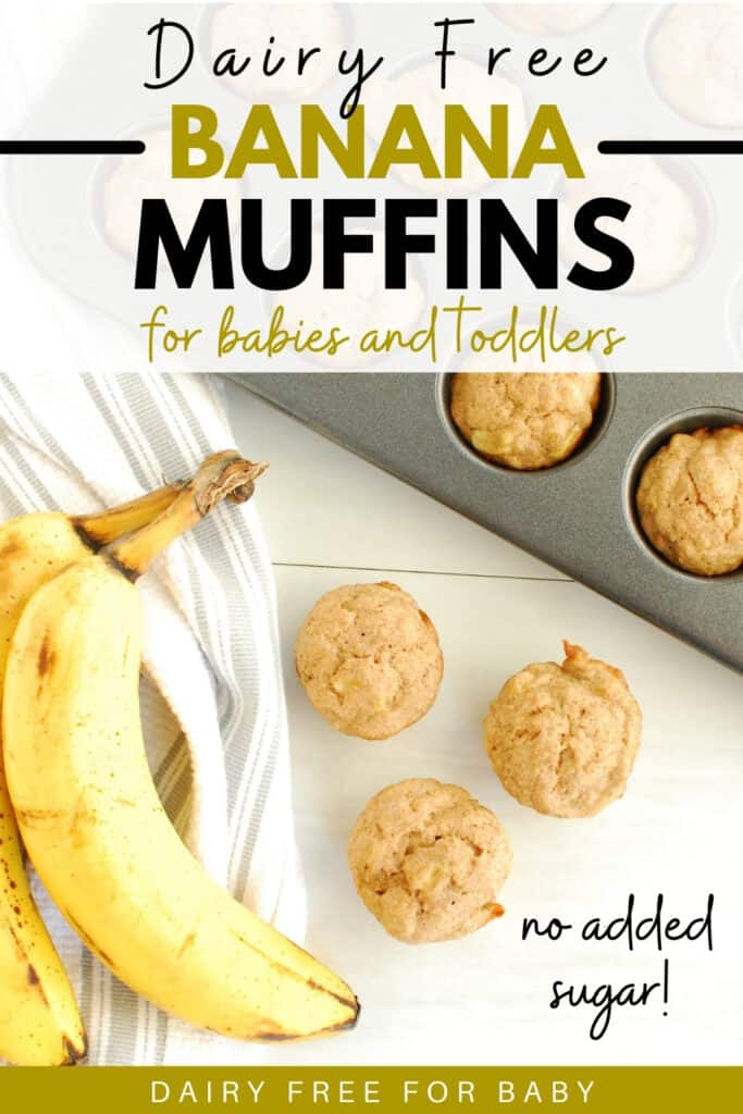 A few baby banana muffins next to fresh bananas and a striped napkin.